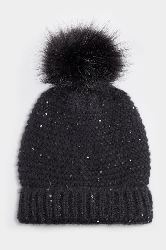 Black Sequin Pom Pom Hat 15925956075