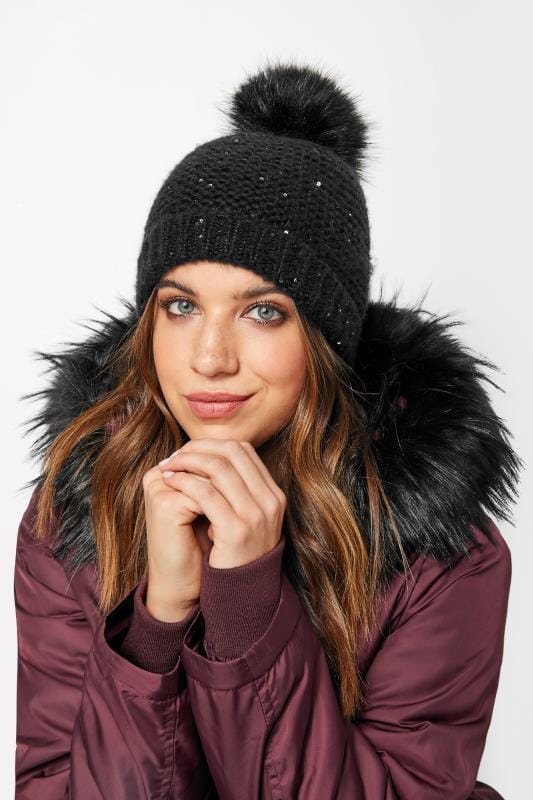 Plus Size Hats Black Sequin Pom Pom Hat