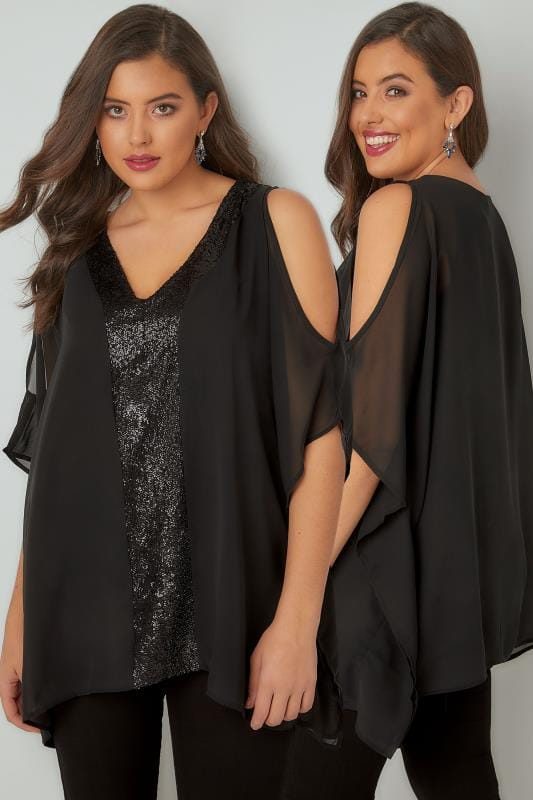 Plus Size Blouses YOURS LONDON Black Sequin V-Neck Blouse With Cold Shoulders