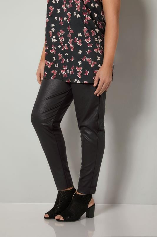 Black Sheen Fabric Harem Trousers