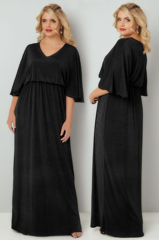 Black Sheen Maxi Dress With Kimono Sleeves