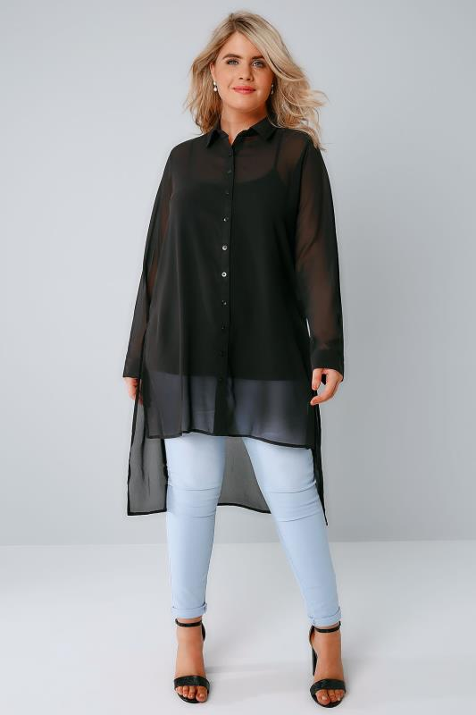 Black Sheer Longline Shirt With Bright Embroidery Back Detail & Step Hem