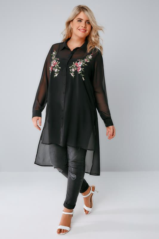 Black Sheer Longline Shirt With Embroidery Detail & Step Hem
