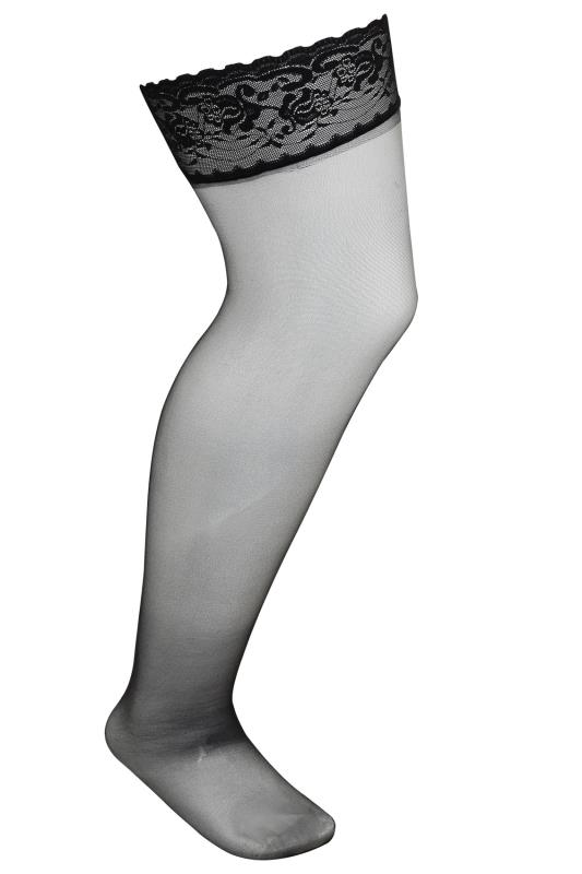 Black Sheer Stocking With Lace Trim