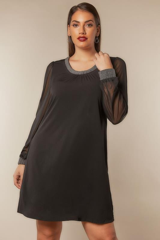 Black Shift Dress With Beaded Neckline & Cuffs