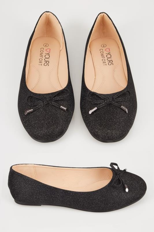 Wide Fit Flat Shoes Black Shimmer Ballerina Pumps In TRUE EEE Fit