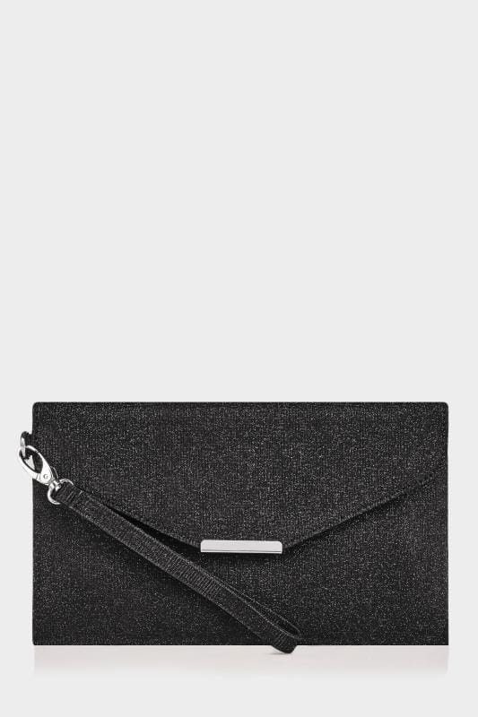Black Shimmer Envelope Clutch Bag