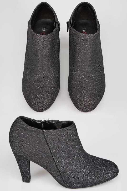 Black Shimmer Shoe Boots With Flexi Sole In TRUE EEE Fit