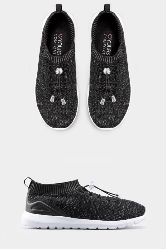 Black Shimmer Sock Style Trainers