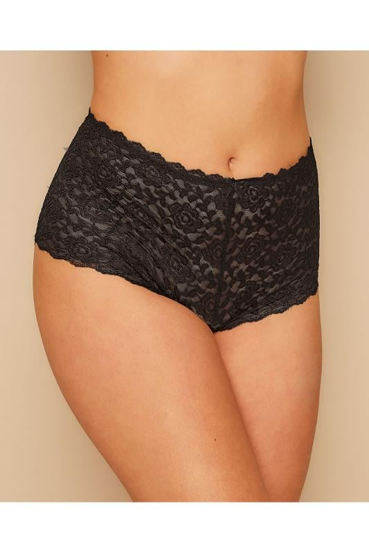 Plus Size Plus Size Briefs & Knickers Black Shine Lace Shorts