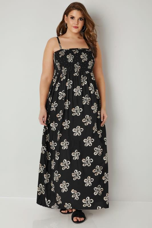 Plus Size Maxi Dresses Black Shirred Bandeau Floral Maxi Dress With Detachable Straps