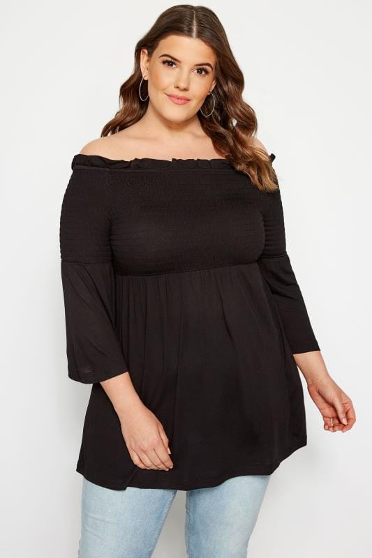 Plus Size Bardot & Cold Shoulder Tops Black Shirred Bardot Top