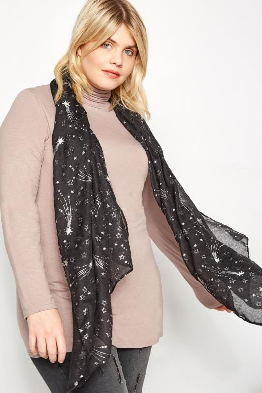 Plus Size Scarves Black Shooting Star Foil Scarf