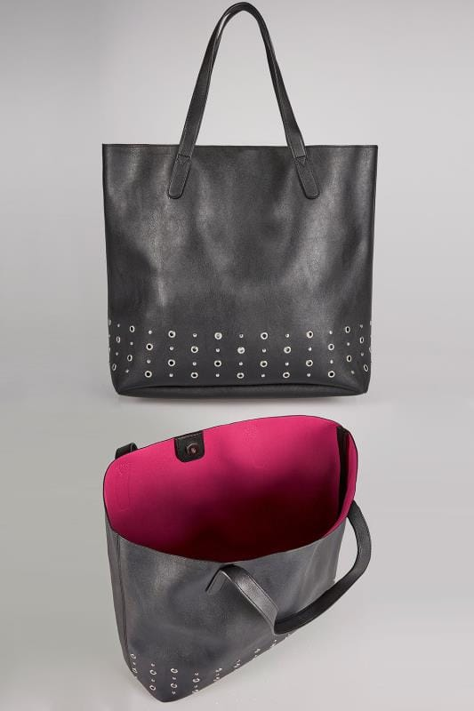 Black Shopper Bag With Bright Pink Lining & Eyelet Details