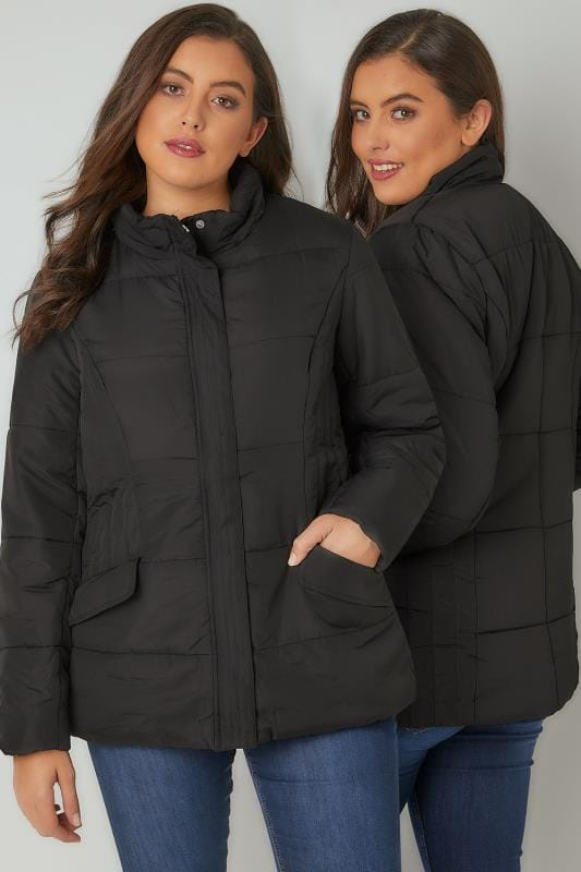 Plus Size Puffer & Quilted Jackets Black Short Padded Puffer Jacket