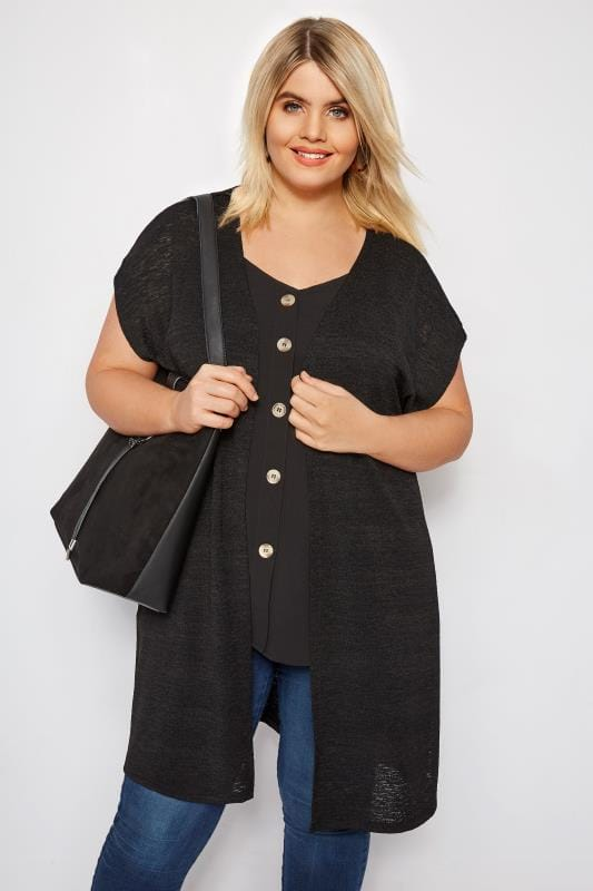 Plus Size Cardigans Black Short Sleeve Cardigan