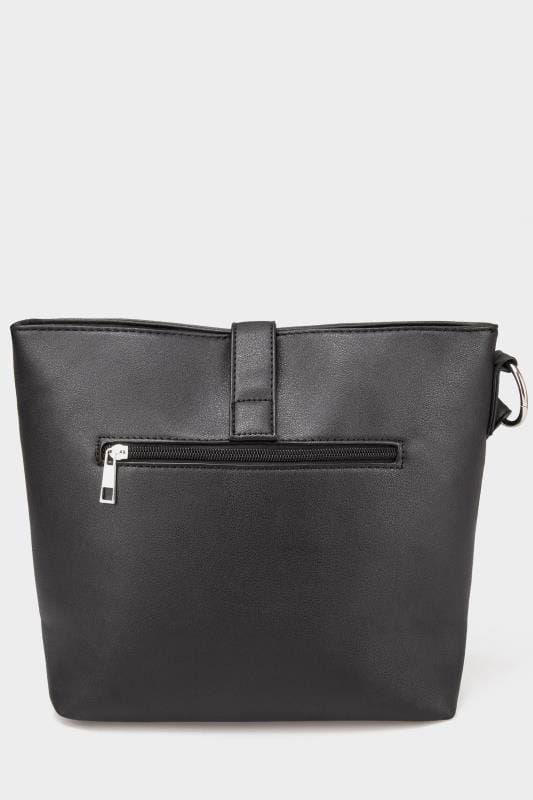Black Shoulder Bag With Ring Detail