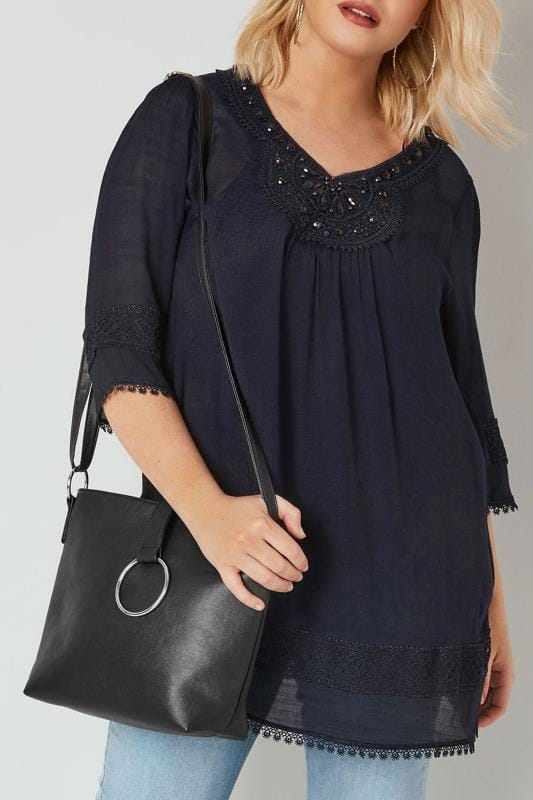 Plus Size Bags & Purses Black Shoulder Bag With Ring Detail