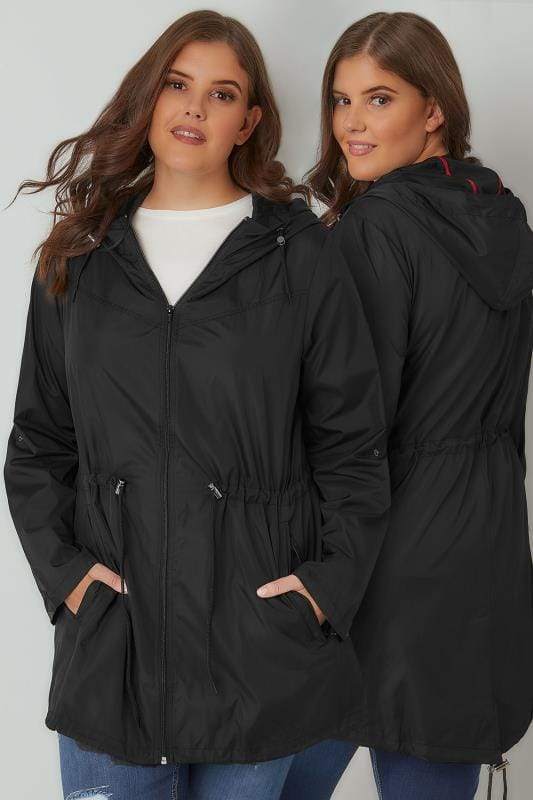 Plus Size Parka Coats Black Pocket Parka Jacket With Hood