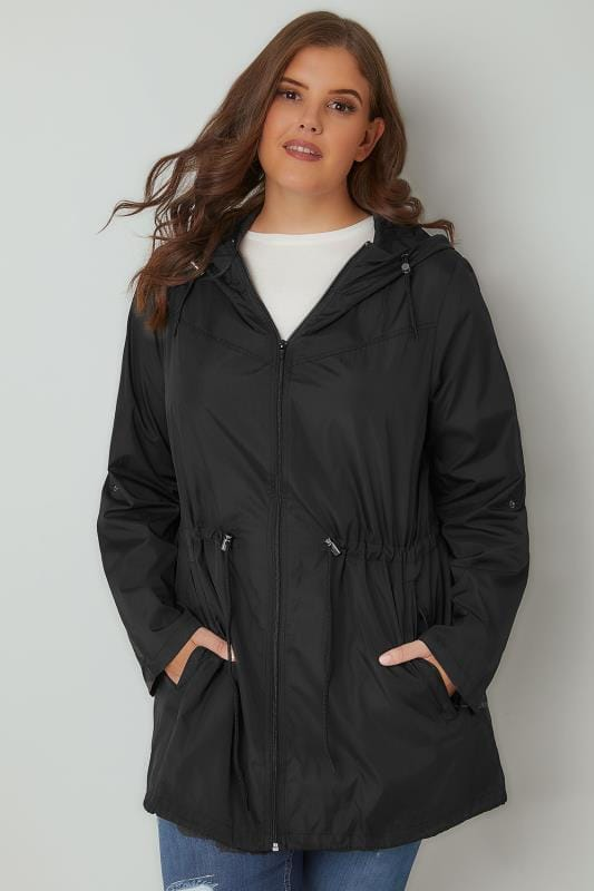 Plus Size Parka Coats Black Pocket Parka Jacket