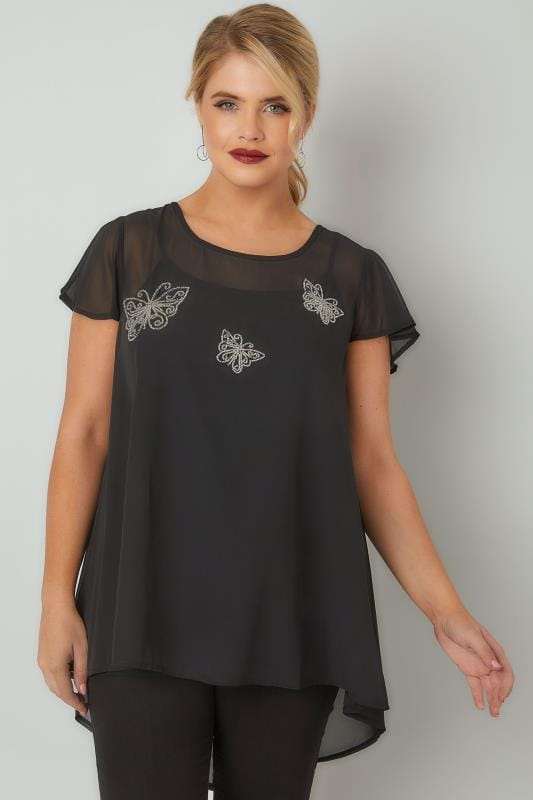 Black & Silver Beaded Butterfly Swing Top With Dipped Hem
