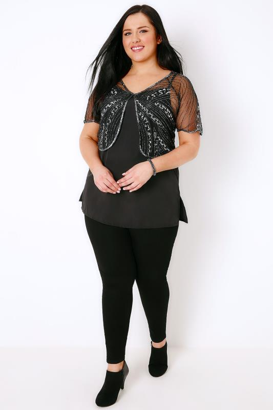 Black & Silver Embellished Sequin Shrug With Curved Hem