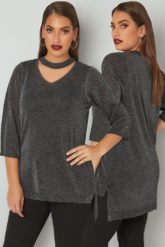 Black & Silver Metallic Fine Knit Top With Choker Neck