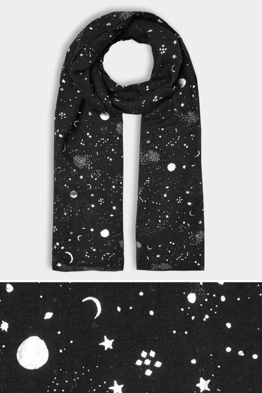 Plus Size Scarves Black & Silver Space Foil Scarf