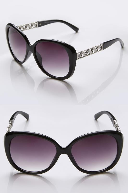 Black & Silver Oversized Sunglasses With Heart Shaped Details & UV Protection