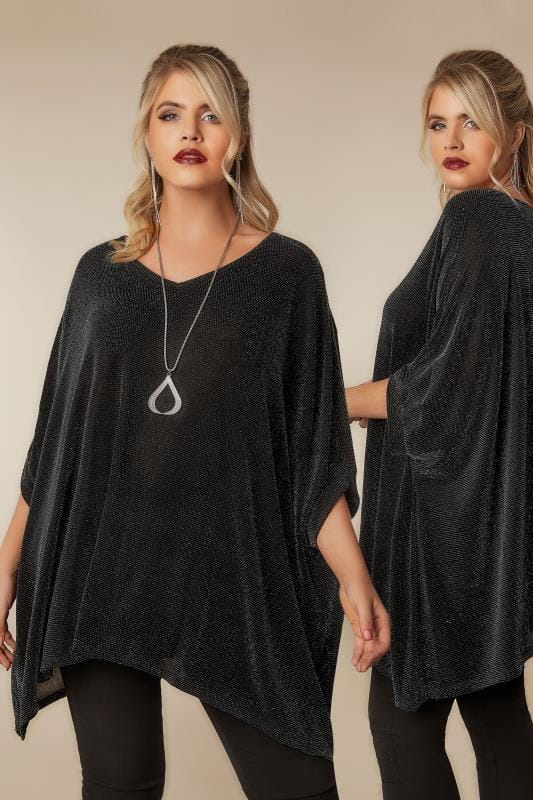 Party Tops Black & Silver Sparkle Cape Top With Free Necklace 134267