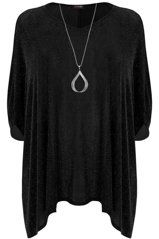 Check Out The 1940s Trends We Still Love Over 70 Years: Black & Silver Sparkle Cape Top With Free Necklace, Plus