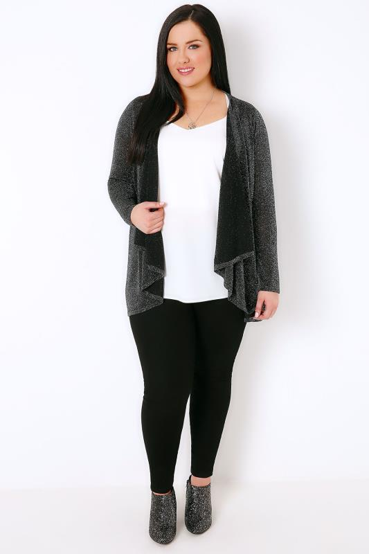 Black & Silver Sparkle Cardigan With Waterfall Front