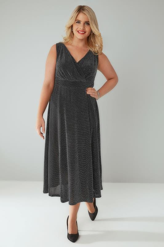 Black & Silver Sparkle Wrap Front Sleevelss Midi Dress