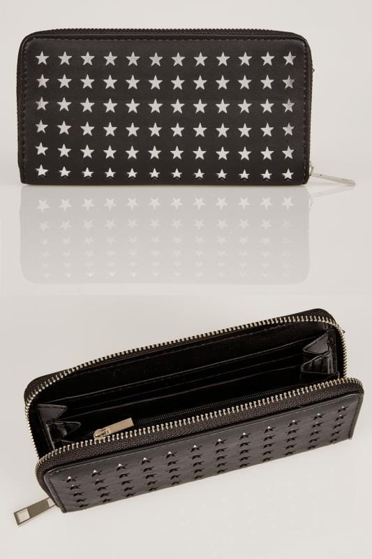 Bags & Purses Black & Silver Star Cut Out Purse 152232