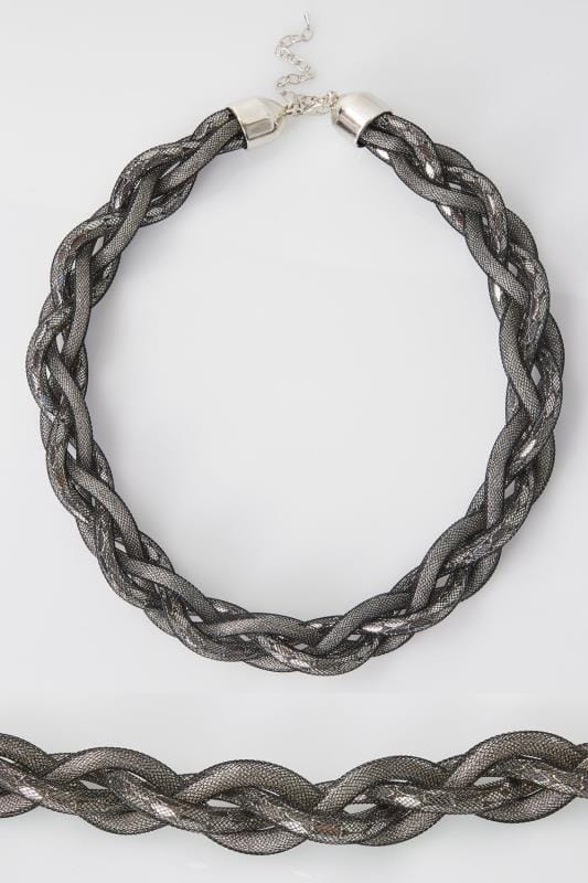 Black & Silver Twisted Statement Necklace