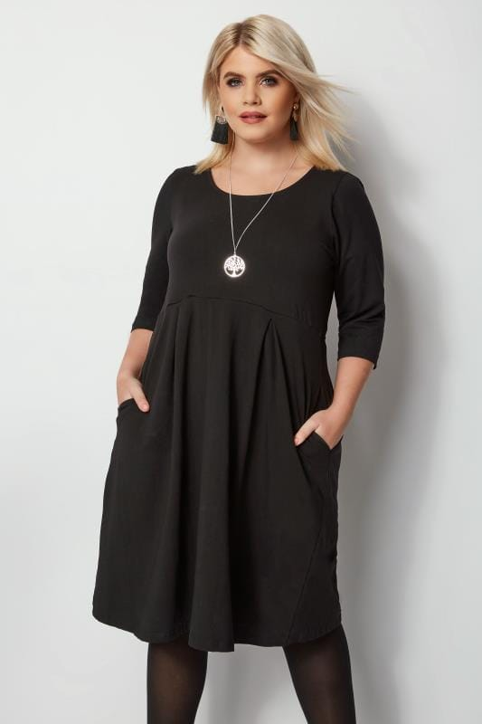 Plus Size Black Dresses Black Skater Dress