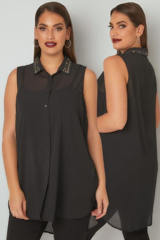 Black Sleeveless Chiffon Shirt With Embellished Collar