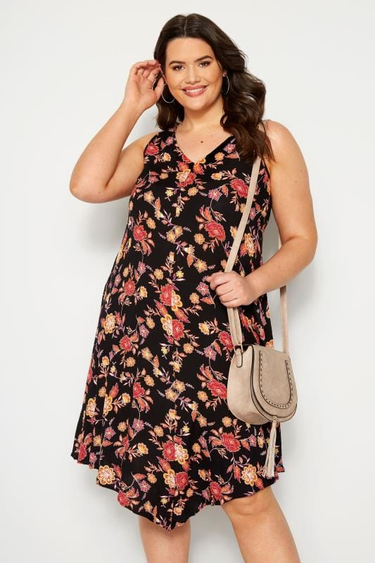 Plus Size Swing Dresses Black Sleeveless Floral Swing Dress