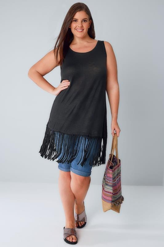 Black Sleeveless Longline Top With Fringed Hem
