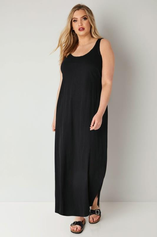 Plus Size Maxi Dresses Black Sleeveless Dress With Plait Trim