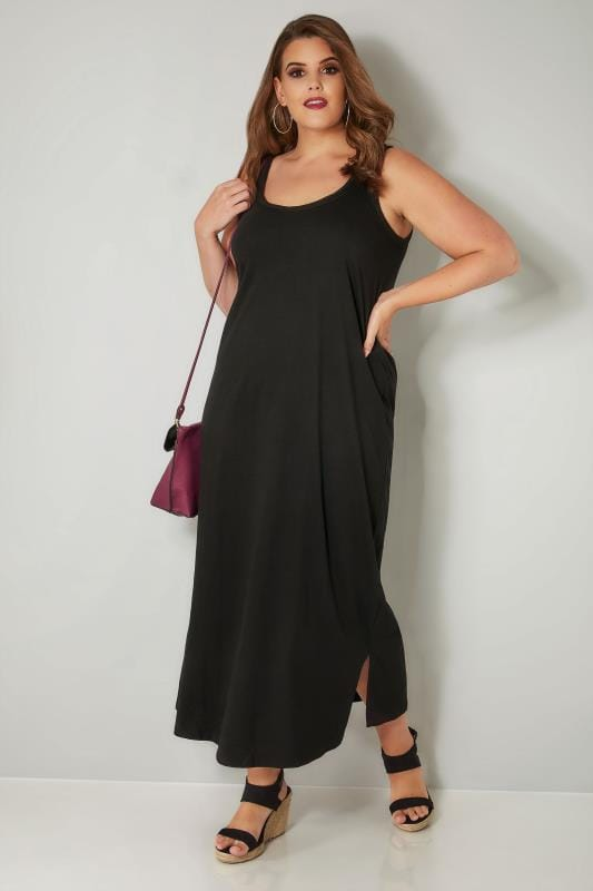 Black Sleeveless Maxi Dress With Plait Trim