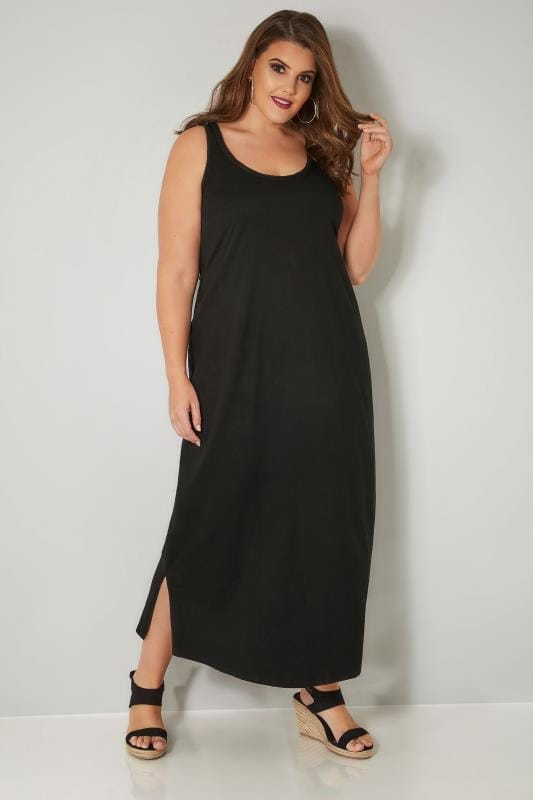 Plus Size Maxi Dresses Black Sleeveless Maxi Dress With Plait Trim