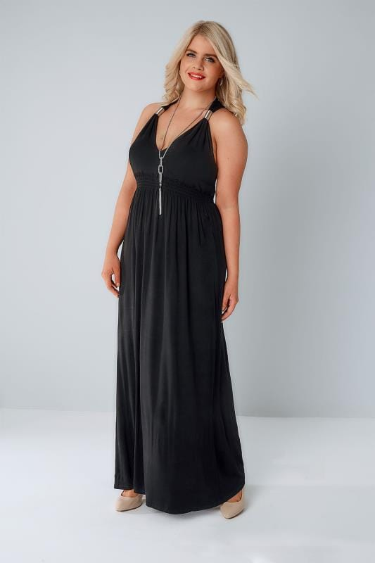 Black Dresses Black Sleeveless Maxi Dress With Spring Details & Free Necklace 136131