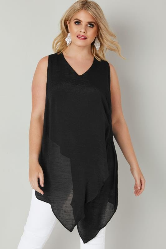 Black Sleeveless Layered Top With Asymmetric Front