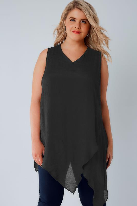 Black Sleeveless Top With Layered Front