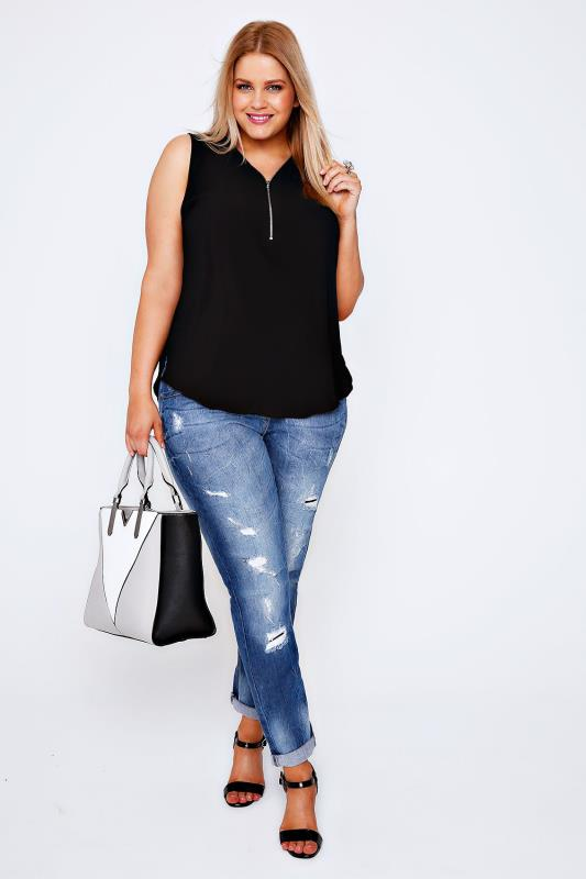 Black Sleeveless Top With Zip Neckline