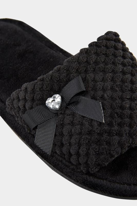 Wide Fit Slippers Black Slider Memory Foam Slippers With Bow
