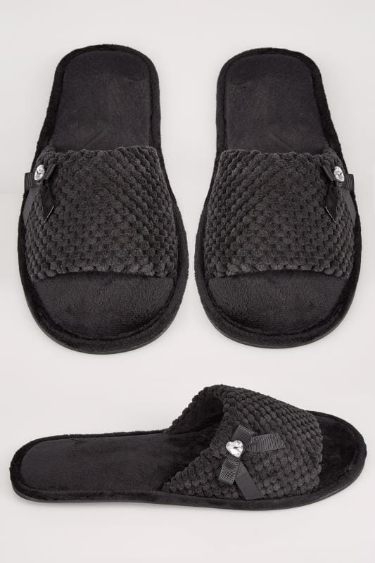 Wide Fit Slippers Black Slider Memory Foam Slippers With Bow & Diamante Detail