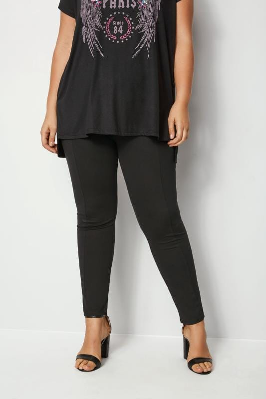 Plus Size Tapered & Slim Leg Pants Black Slim Leg Ponte Treggings