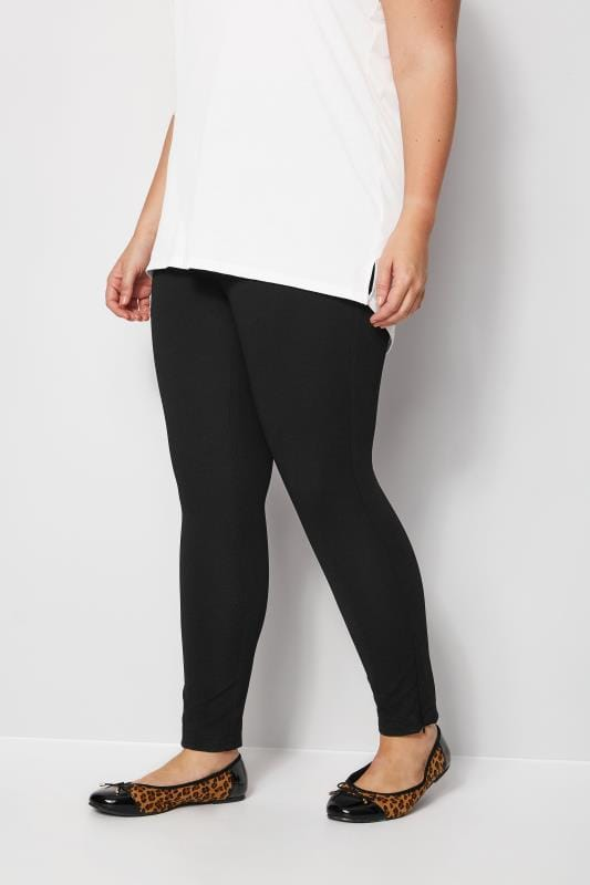 Plus Size Tapered & Slim Fit Trousers Black Slim Leg Ponte Treggings